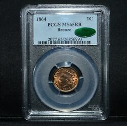 1864 Indian Head Cent ✪ Pcgs Ms-65-rb Cac ✪ 1c Gem Uncirculated Unc ◢trusted◣