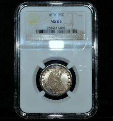 1876-p Seated Liberty Quarter ✪ Ngc Ms-65 ✪ 25c Gem Uncirculated Unc ◢trusted◣