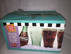 Indiana Glass Contour Glass Inspired Coca-cola Green 6 Pack Set 16 Oz. Glasses