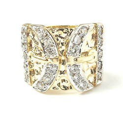 9ct Gold Menand039s Ring Double Buckle Cubic Zirconia 24.8g Solid Size Z+1 Hallmarked