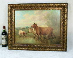 Antique Flemish Listed Paul Henry Schouten Oil Panel Signed Painting Cows Field