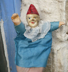 Antique 1900/1930 French Puppet Compo Paper Mache Head Punch And Guignol
