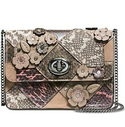 Coach 12071 Bowery Patchwork Leather Suede Snake Flowers Brown Tan Small New