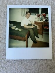Blonde Beefcake Mustache Dorm Room Gay Int Vintage 1980s Polaroid Photograph
