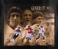 Archie Peyton And Eli Manning Signed 20 X 24 Manning Family Generations Canvas