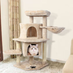 36#x27;#x27; Cat Tree Multi Level Activity Cat Tower with Sisal Posts for Adult Cats
