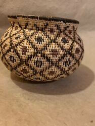 Zulu African Basket Handmade All Natural Small Tightly Woven Vintage
