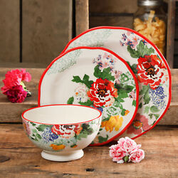 The Pioneer Woman Floral Dinnerware Set 12-piece Ceramic Dining Plates Bowls