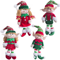 Wewill Adorable Flexible Christmas Elves Dolls -set Of 4 Party Home Decoration H