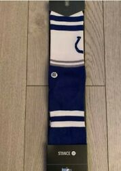 New 1 Pair Of Stance Socks Nfl Indianapolis Colts Logo Size Large 9-12