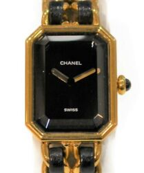 Premiere H0001 Stainless Steel Ss Gp Gold Leather Quartz Black Used