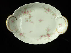 Antique Theodore Haviland Dainty Pink Flower Oval Platter Embossed Rims Gold