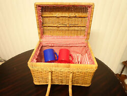 Wicker Weave Picnic Basket With Top Handles And Service Set Red And Blue Dishes