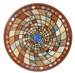 42 Marble Dining Table Top Inlay Rare Semi Round Center Coffee Table Ar0674