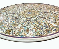 48 Marble Dining Table Top Inlay Rare Semi Round Center Coffee Table Ar0693