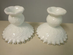 Fenton Silver Crest Spanish Lace Pair Of Candle Holders Vintage White Milk Glass