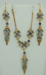 Art Deco 14k And Sterling Silver Diamond And Sapphire Parure Set Earrings And Necklace