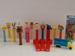 Pez Dispensers Lot Of 19 Collection Trucks, Christmas, Valentines, Cartoon Used
