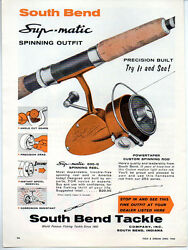 1964 Vintage Ad South Bend Supr-matic 606-g Fishing Reels And Powertaper Rods