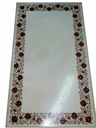54 Marble Dining Table Top Inlay Rare Semi Antique Center Coffee Table Ar0743