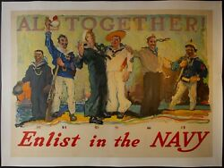 1917 All Together Enlist In The Navy Wwi Poster Henry Reuterdahl Original Linen