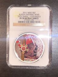 2011 S2 Niue Russia Entering Wwii 70th Ann. Colorized Ngc Pf70 Ultra Cameo