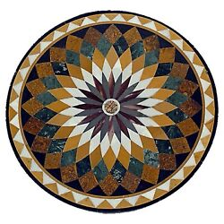 36 Marble Dining Table Top Inlay Rare Semi Round Center Coffee Table Ar0871