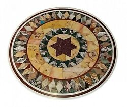 36 Marble Dining Table Top Inlay Rare Semi Round Center Coffee Table Ar0872