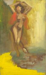 E E Cummings / Nude With Red Scarf On Shoulders 1946