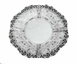 925 Sterling Silver Handmade Large Leaf Appliques And Filigree Border Round Tray