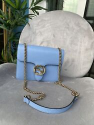 authentic gucci crossbody babyblue leather bags $850.00