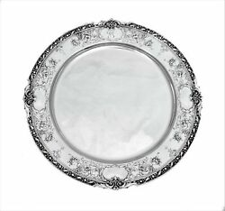 Topazio 925 Sterling Silver Handmade Chased Leaf Floral Mirror Shiny Round Tray