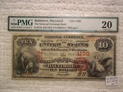 1875 20 Baltimore Maryland Md National Currency 1109 Only 10 Known Unique