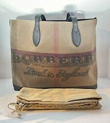 Burberry Doodle Tote Canvas and Leather Giant Check Coated Medium Reversible Bag $399.99