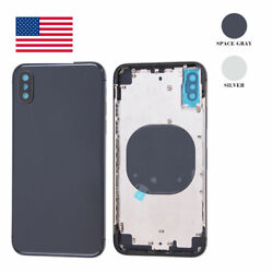 Back Housing Rear Glass Battery Cover Frame Assembly For Iphone X Oem Usa Stock