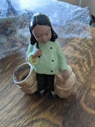Vintage 1940s Mccarty Bros California Pottery Co Asian Girl With Baskets Planter