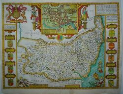 Antique Map Of Suffolk By John Speed 1627