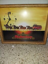 1995 Framed Famous Budweiser Clydesdale Beer Clock Americana - Free Shipping