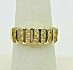 14k Yellow Gold Alternating Diamond And Gold Ring 6.3 Grams Size 7 Polished