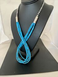 """Native American Sterling Silver Blue Tube Turquoise 5str Necklace 29"""" 830"""