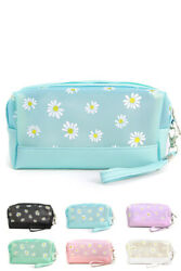 Daisy Flower Beauty Portable Pastel Color Beach Pouch Cosmetic Clutch Bag $12.99