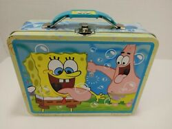 Tin Metal Lunch Snack Toy Box Embossed Sponge Bob And Patrick Embossed Bubbles