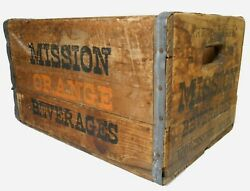 Rare Mission Orange Beverages Worcester Ma Early 20th C Vint Wood Box Soda Crate