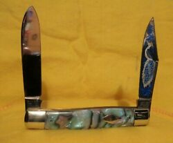 BULLDOG BRAND SOLINGEN GERMANY 2 BLADE PEACOCK ETCHED MOOSE PATTERN KNIFE