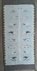 Vintage Mexican Wool Rug Tree Of Life Bird Theme 26 X 58 Pastels