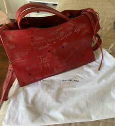 Balenciaga Red Leather Valentineand039s Day Blackout Aj City Bag