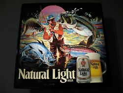 New Vtg 88 Bud Natural Light Beer Bass Trout Fishing Fish Fry In Motion Bar Sign