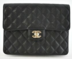 21c Black Caviar Quilted Gold Cc Logo O Case Large Flap Clutch Pouch Bag