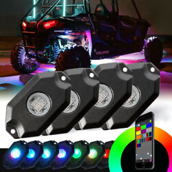 4pods Rgb Led Rock Lights Truck Bluetooth Music Multi Color Chase Atv Rzr
