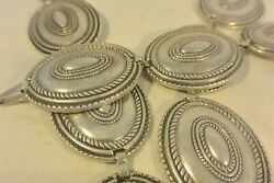 Signed 19+ozt Old Heavy And Thick Navajo Concho Belt Cast Sterling Silver Buckle